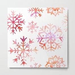 Red Watercolor Snowflakes Metal Print