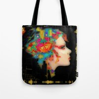 glitch Tote Bags featuring Glitch by Steve W Schwartz Art