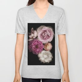 Pink, Purple, and White Roses Unisex V-Neck