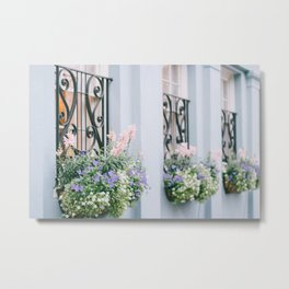 Charleston Blue and Pink Florals Metal Print