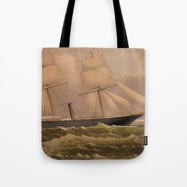 Vintage Illustration of a Frigate Sailboat (1881) Tote Bag