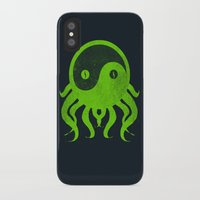 cthulu iPhone & iPod Cases featuring yin yang cthulu by frederic levy-hadida