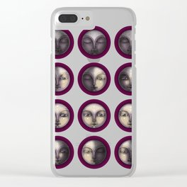 moon phases on dark purple Clear iPhone Case