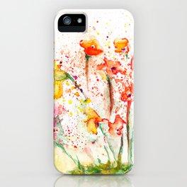 Spring Flowers Splatter iPhone Case