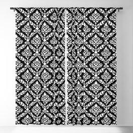 Prima Damask Pattern White on Black Blackout Curtain