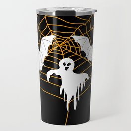 Bats and Ghost white - black color Travel Mug
