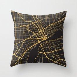 DETROIT MICHIGAN GOLD ON BLACK CITY MAP Throw Pillow