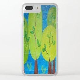 Green Trees Whimsical Folk Art Clear iPhone Case