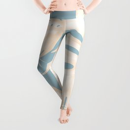 Island Vacay Hibiscus Palm Pale Coral Sky Blue Leggings