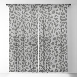 Black & Gray Leopard Print Sheer Curtain