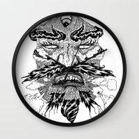 demon Wall Clocks featuring demon by Fellow Artist