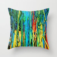 anxiety Throw Pillows featuring Anxiety by Yolanda's Prints