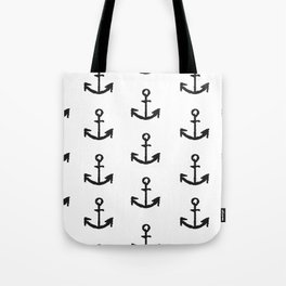 Anchor - White with Black Tote Bag