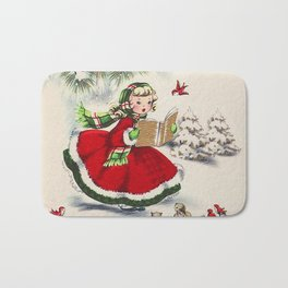 Vintage Christmas Girl Bath Mat