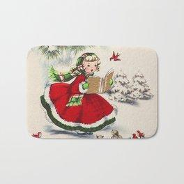 Vintage Christmas Girl Bath Mat