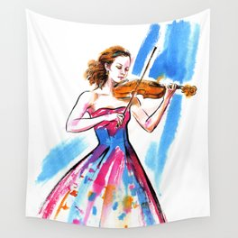 Girl playing the violin Wall Tapestry