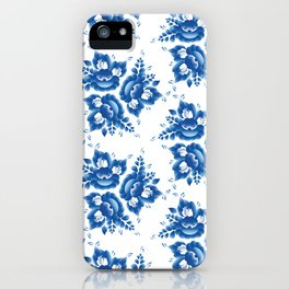 Vintage shabby Chic Seamless pattern with blue flowers and leaves. Vector iPhone Case