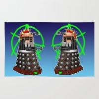 dalek Area & Throw Rugs featuring Punk Dalek by Andrew Mark Hunter
