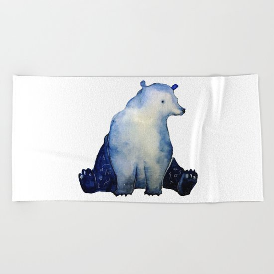 blue bear Beach Towel