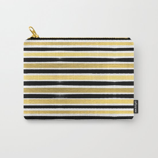 Black and white gold stripes modern brushstrokes minimal art print abstract painting gold foil Carry-All Pouch