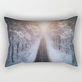 Aerial view of snowy forest with a road at sunset. Captured from above with a drone. Romania Rectangular Pillow