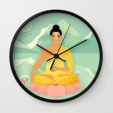 Sacred World: Golden Yogi Wall Clock