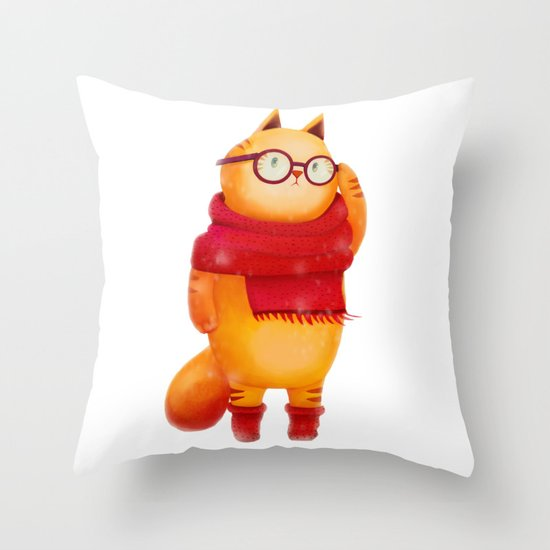 Smart cat Throw Pillow
