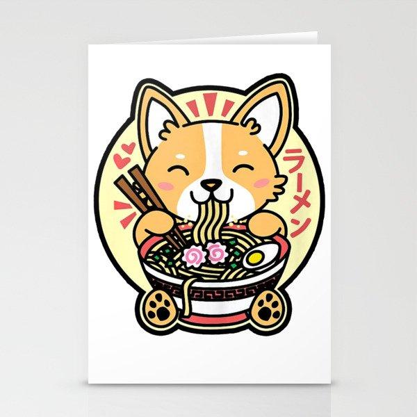 Kawaii Ramen Cute Anime Dog Corgi Japanese Noodles Stationery Cards