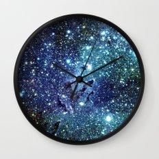 GalaxY Nebula Blue Teal Indigo Wall Clock