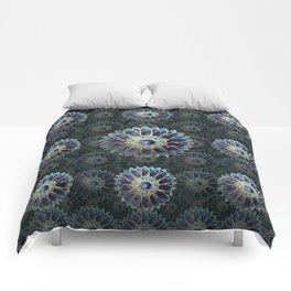 Mosaic flower, blue turquoise Comforters