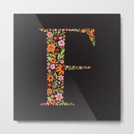 Retro Floral Letter F Metal Print