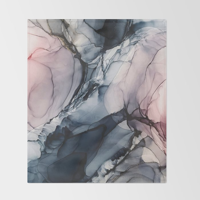 Blush, Navy and Gray Abstract Calm Clouds Decke