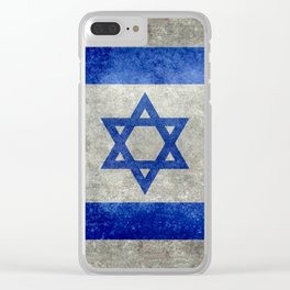 Flag of the State of Israel - Distressed worn patina Clear iPhone Case