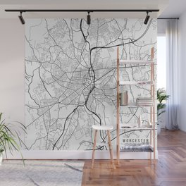 Worcester Map, USA - Black and White Wall Mural