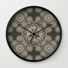 Pewter and Rose-Gold Patterned Mandalas Wall Clock