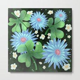 Pattern blue color floral Metal Print