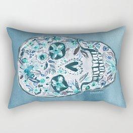 SECRET GARDEN SKULL Floral Watercolor Rectangular Pillow
