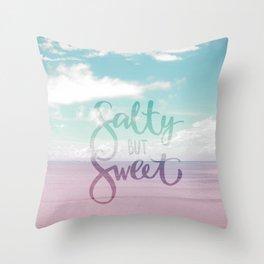 Salty but Sweet - Pink Summer Beach Sea Ocean Nature Throw Pillow