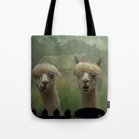 marx Tote Bags featuring Alpaca Farm by TaLins