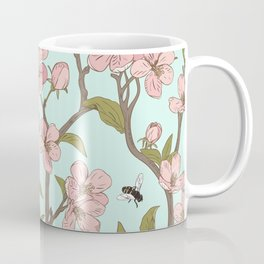 Lovely Cherry Blossom And Honey Bee Springtime Pattern Coffee Mug