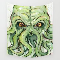 cthulhu Wall Tapestries featuring Cthulhu by Olechka