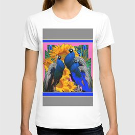 BLUE PEACOCK &  PINK-GREY COLOR YELLOW FLOWERS T-shirt