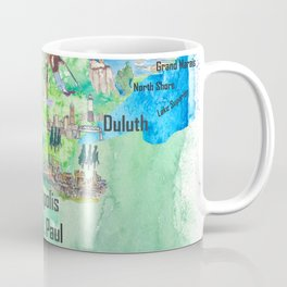 Minnesota USA State Illustrated Travel Poster Favorite Tourist Map Coffee Mug