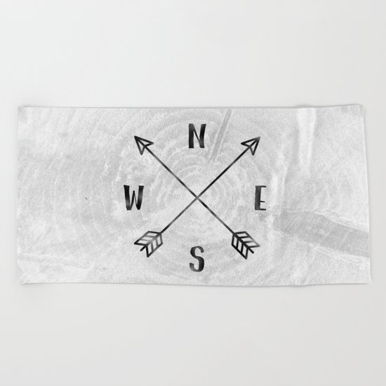Black and White Wood Grain Compass Beach Towel