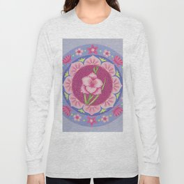 Pretty Pink Flowers Mandala Long Sleeve T-shirt