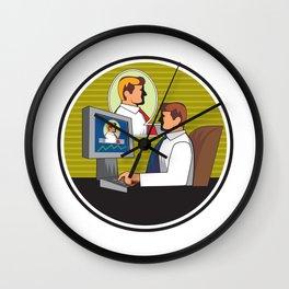 Businessman Video Conference Retro Wall Clock