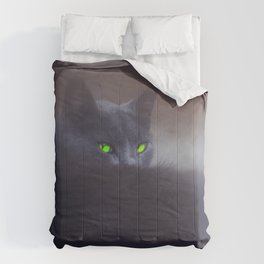 Black Cat with Green Eyes Comforters