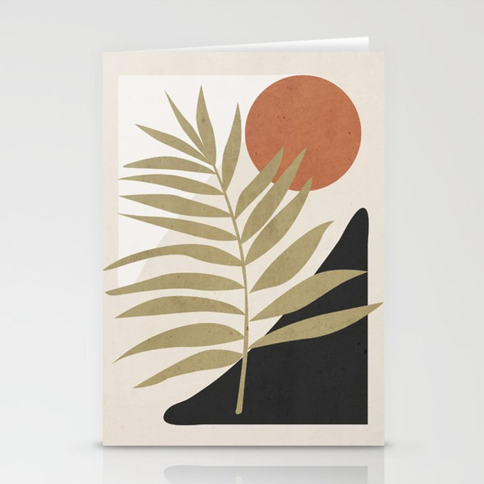Tropical Leaf- Abstract Art 9 Stationery Cards