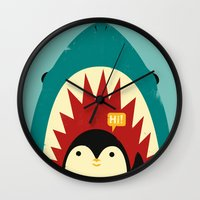 strong Wall Clocks featuring Hi! by Jay Fleck