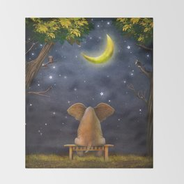 Illustration of a elephant on a bench in the night forest  Throw Blanket
